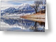 Hardy Fishermen Deer Creek Reservoir And Timpanogos In Winter Greeting Card