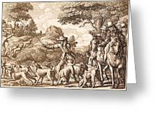 Hare Hunting, Engraved By Wenceslaus Greeting Card