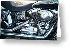 Harley Black And Silver Sideview Greeting Card