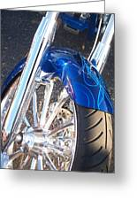 Harley Close-up Blue Flame  Greeting Card
