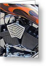 Harley Close-up Orange Flame Greeting Card