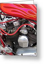 Harley Close-up Pink And Red Flames Greeting Card