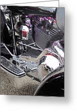Harley Close-up Purple Lights Greeting Card