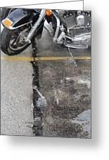 Harley Close-up Rain Reflections Tall Greeting Card