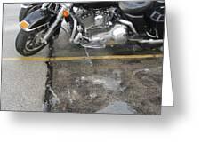Harley Close-up Rain Reflections Wide Greeting Card