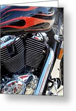 Harley Close-up Red Flame 1 Greeting Card