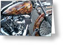 Harley Close-up Skull Flame  Greeting Card
