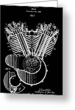 1923 Harley Davidson Black And White Engine Patent Greeting Card