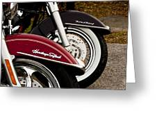 Harley Davidson Heritage Softail And Road King Greeting Card