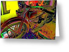 Harley Davidson In Neon  Greeting Card