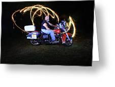 Harley Davidson Light Painting Greeting Card