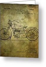 Harley Davidson Motorbike Patent  Greeting Card