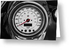 Harley Davidson Motorcycle Speedometer Harley Bike Bw  Greeting Card
