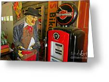Harley Davidson Vintage Gas Pump Greeting Card