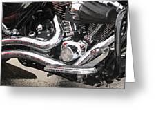 Harley Engine Close-up Rain 2 Greeting Card