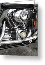 Harley Engine Close-up Rain 3 Greeting Card