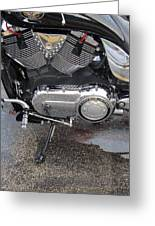 Harley Engine Close-up Yellow Line Greeting Card