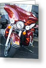 Harley Red W Orange Flames Greeting Card