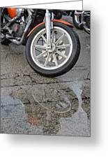 Harley Reflection In Rain  Greeting Card