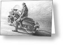 Harley Rider Pencil Portrait Greeting Card