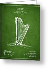 Harp Music Instrument Patent From 1901 - Green Greeting Card