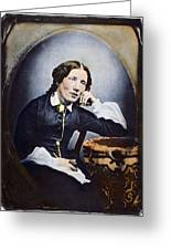 Harriet Beecher Stowe (1811-1896). American Abolitionist And Writer. Oil Over A Daguerrotype, C1852 Greeting Card