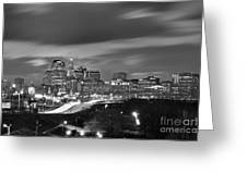 Hartford Skyline At Night Bw Black And White Greeting Card