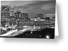 Hartford Skyline At Night Bw Black And White Panoramic  Greeting Card