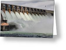 Hartwell Dam With Flood Gates Open Greeting Card