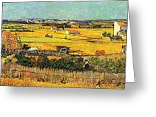 Harvest At La Crau With Montmajour In The Background Greeting Card by Vincent Van Gogh