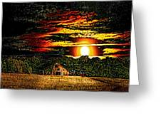 Harvest Moon And Late Barn Greeting Card