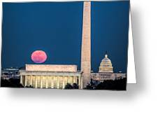 Harvest Moon Over Lincoln Memorial Greeting Card
