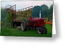 Harvest Time Tractor Greeting Card