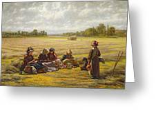 Harvesters Resting In The Sun, Berkshire, 1865 Oil On Canvas Greeting Card