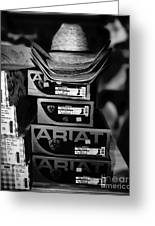 Hats Or Boots Bw Greeting Card
