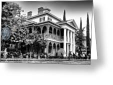 Haunted Mansion New Orleans Disneyland Bw Greeting Card