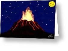 Hawaian Vulcano At Night Greeting Card