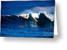Hawaii Oahu Waimea Bay Surfers Greeting Card by Anonymous