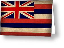 Hawaii State Flag Art On Worn Canvas Greeting Card