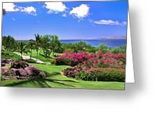 Hawaii Wailea Gold Course Golf Course Panorama 2 Greeting Card