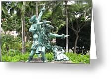 Hawaiian Dancers Statues Greeting Card