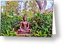 Hawaiian Garden Buddha  Greeting Card