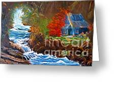 Hawaiian Hut By Rushing Waters Greeting Card