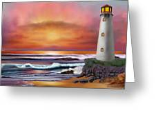 Hawaiian Sunset Lighthouse Greeting Card