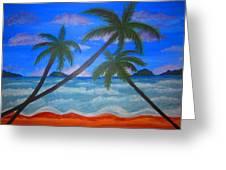 Hawaiin Beach Greeting Card by Haleema Nuredeen