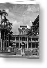 Hawaii's Iolani Palace In Bw Greeting Card