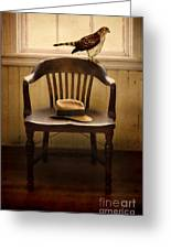 Hawk And Fedora On Chair Greeting Card