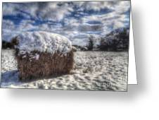 Hay Bale In The Snow Greeting Card