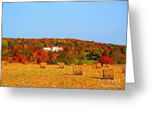 Hay Bales In A Quaker Fall Greeting Card by Matthew Peek