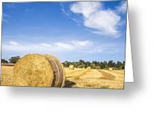 Hay Bales Under Deep Blue Summer Sky Greeting Card